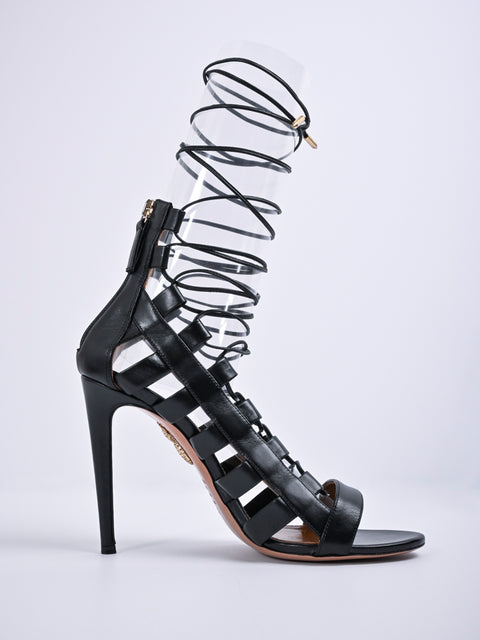 Aquazzura Lace-Up Ankle-Wrap Sandal