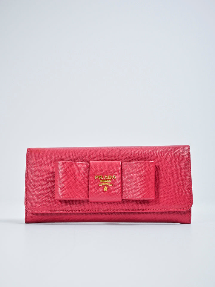 Prada Saffiano Leather Bow Continental Wallet