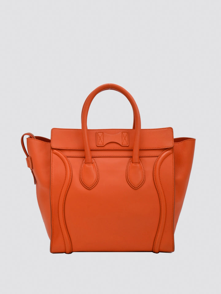 Celine Micro Leather Luggage Tote Bag