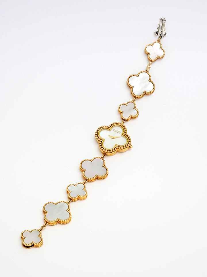 Van Cleef & Arpels  Mother Of Pearl 18K Yellow Gold Vintage Alhambra Women's Bracelet Watch