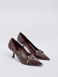 Prada Buckle Vintage Leather Point-Toe Pumps