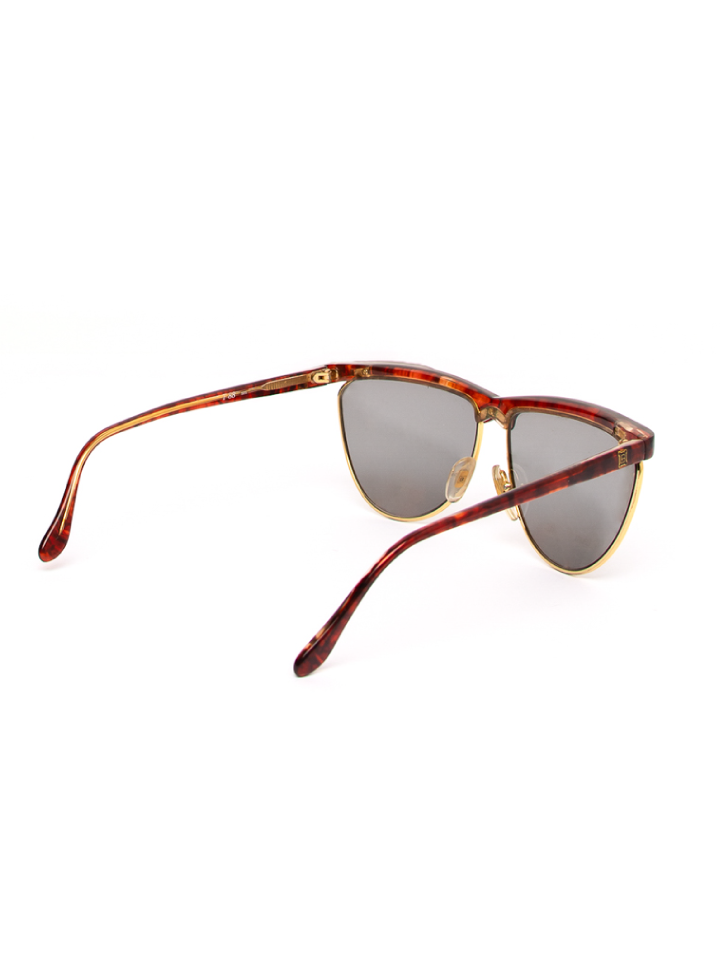 Laura Biagotti Red Tortoise Shell Semi Circle Sunglasses
