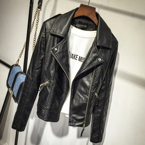 Women Black Faux Leather Jackets Autumn Slim Cool Lady Basic