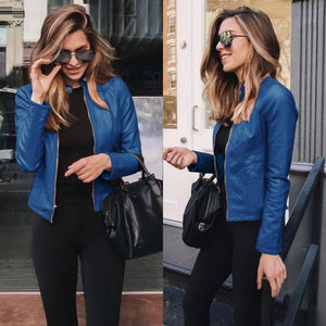 Leather Jacket Women PU Short Outwear Coat Fashion