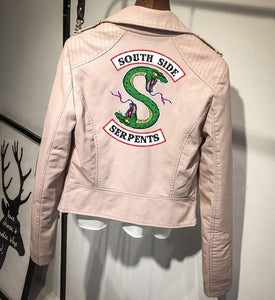 Print Logo Southside Riverdale Serpents Pink/Black PU Leather Jackets Women