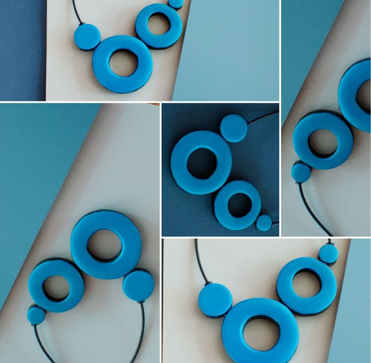 blue polymer clay necklaces by Fiona Herbst