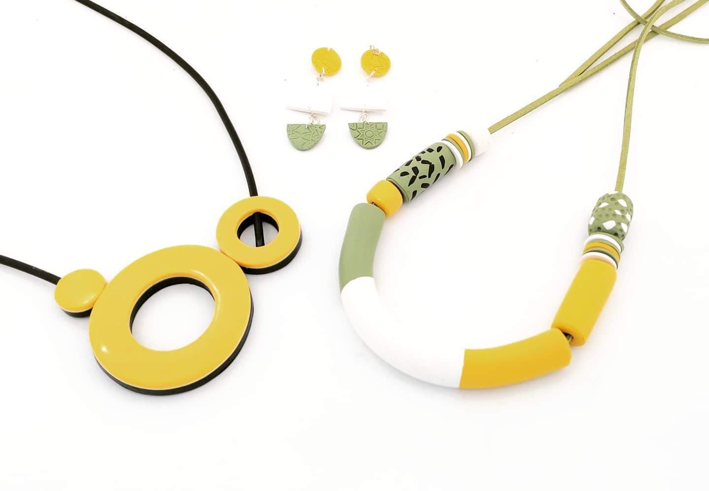 yellow polymer clay jewellery by Fiona Herbst