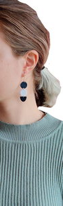 Dangle Earrings in Navy Blue & White Geometric Shapes