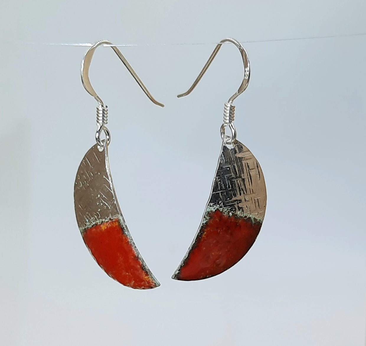 Half moon enamelled earrings