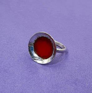 Red enamel sterling silver ring
