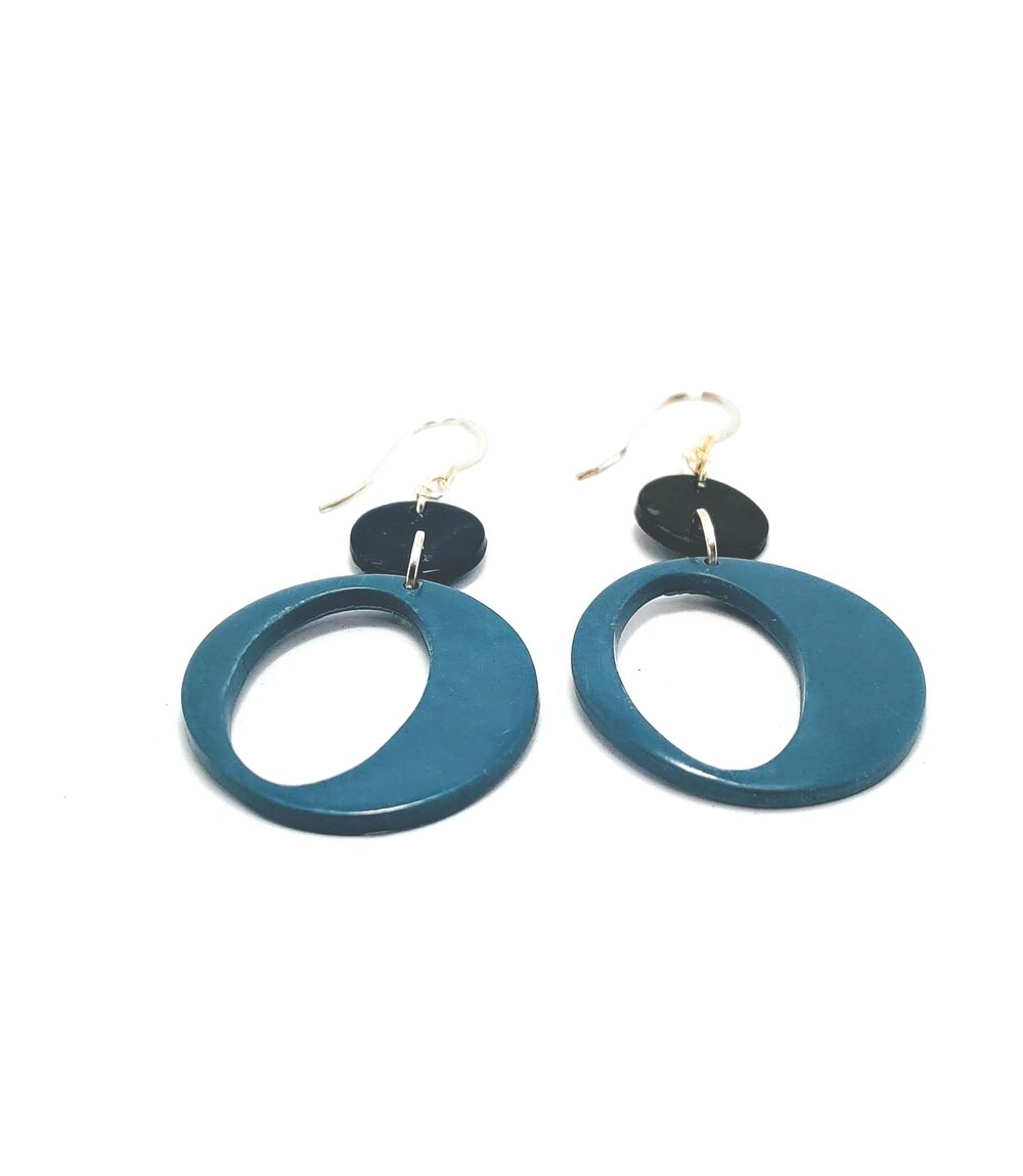Dangle Earrings Navy and Pale Blue