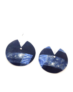 BLUE DISC DANGLE Earrings polymer clay
