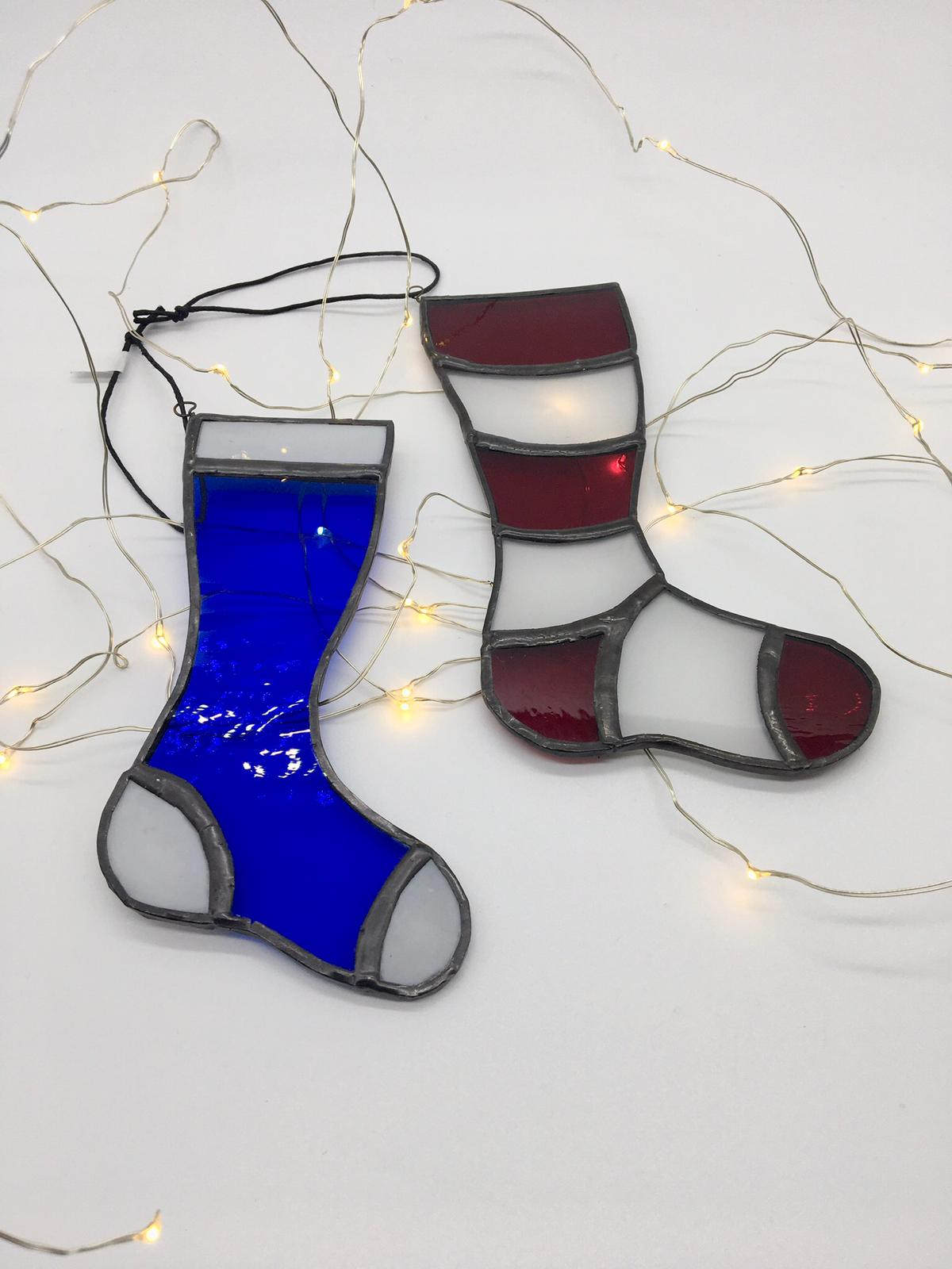 Stained Glass Christmas Stocking Decoration / Ornament - Small