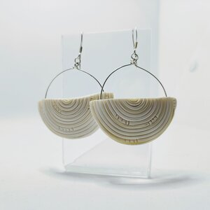 Cream Half Disc Earrings handcrafted from polymer clay