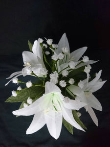 Lily and baby's breath paper flower arrangement