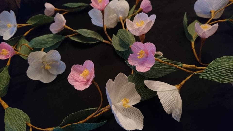 Cherry Blossom Flower Garland made from paper