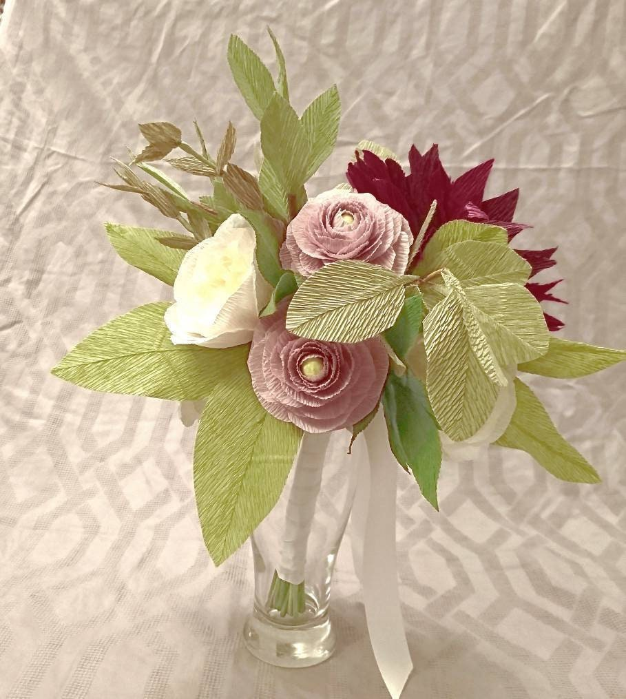 Blush, Burgundy, ivory flower arrangement made from paper