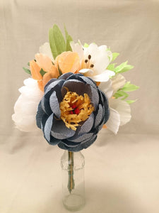 Blue, coral and white Flower Bouquet Paper