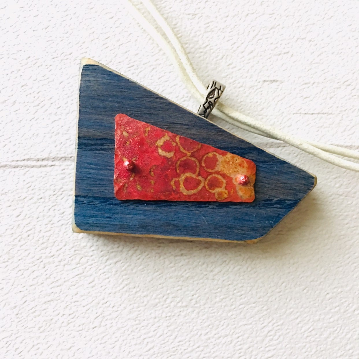 "Patinated Blue Wood and Copper Pendant. Coloured Ash and copper from the ""Sailing"" Collection, made in Derry, Northern Ireland."