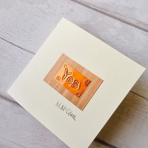 "Derry Phrases, ""Yes"" meaning ""How are you?"" Handmade in Derry, Northern Ireland using copper foil and natural wood veneer."