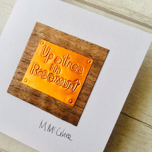 "Derry Phrase ""Up a tree in Rosemount"" - A Derry phrase for ""Wherabouts unknown"" An open card with copper foil and wood veneer , handmade wit"