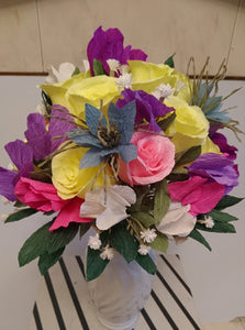 Rainbow Flower Arrangement made from Paper with roses, baby's breath and Love in the Mist blue Nigella flowers