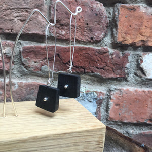 Drop earrings. Silver and Irish Bog Oak. A modern Irish design handmade, each one slightly different.