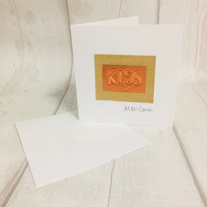 Kiss, a handmade card with a kiss for any occasion.