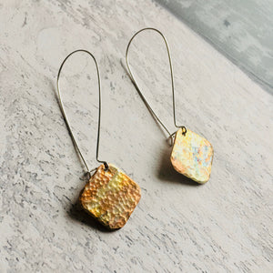 Square Drop Earrings. Patinated and hammered copper with silver ear findings.