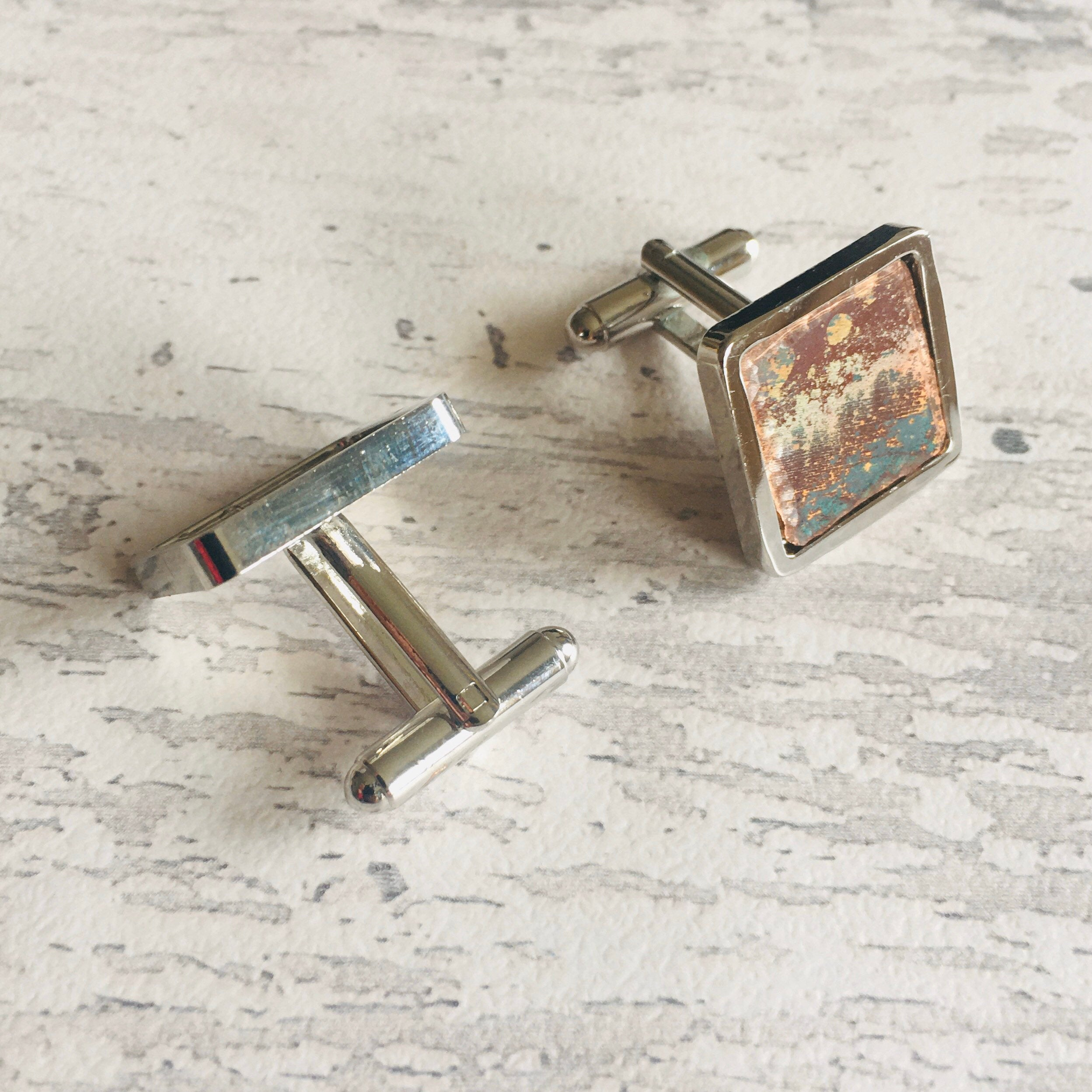 Upcycled Copper Cufflinks . Natural patinated copper set in a silver plated finding. a perfect gift for men.
