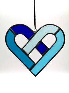 Celtic Heart Stained Glass | Blue | Celtic knot | Sun catcher | Made in Ireland | Gifts for men | Valentine | Love | Tiffany glass