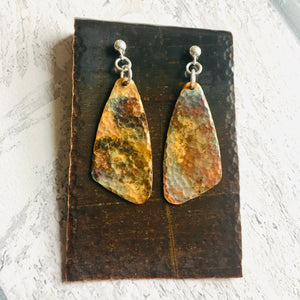 Drop earrings Patina Copper with silver ear findings.