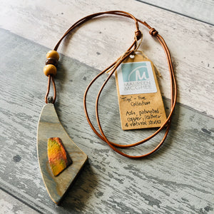 "Natural wood and copper pendant. Ash, Patinated Copper and Natural Leather from the ""Fire"" Collection."