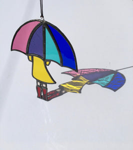 Girl with Umbrella | Stained Glass | Light Catcher | Rainbow | Sun catcher | Gifts for women | Unique gift | Tiffany glass