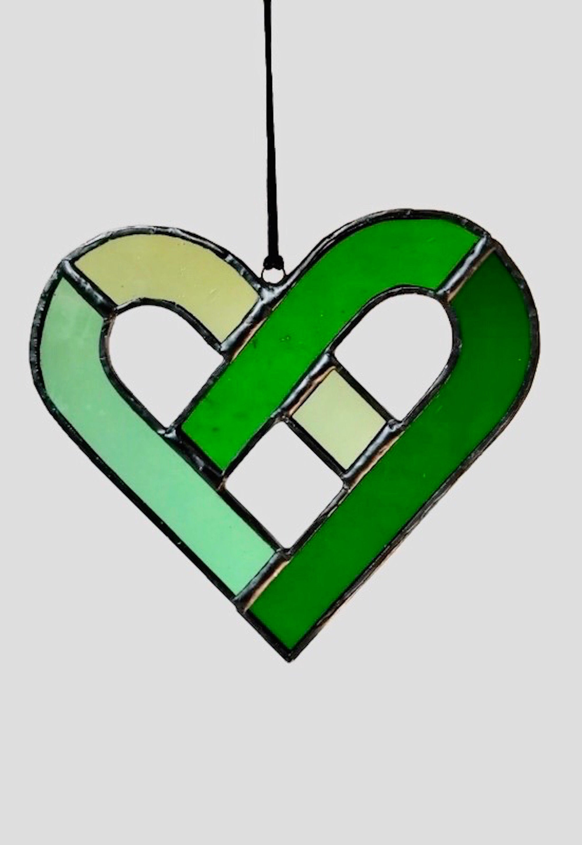 Celtic Heart Stained Glass | Green | Sun catcher | Heart shaped | Unique gift | Made in Ireland  | Light catcher | Tiffany glass | Love