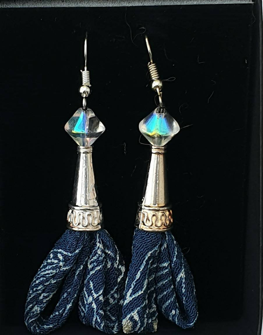 Earrings Upcycled Silk Kimono Fabric
