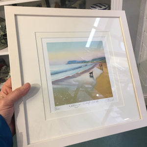 Sharon McDaid framed print - Walking on Culdaff Beach