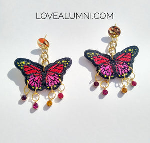 Sunset Monarch Butterfly Earrings