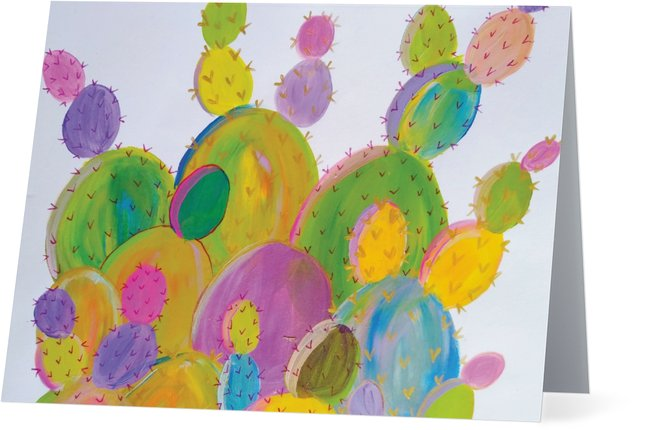 Rainbow Cactus Greeting Card