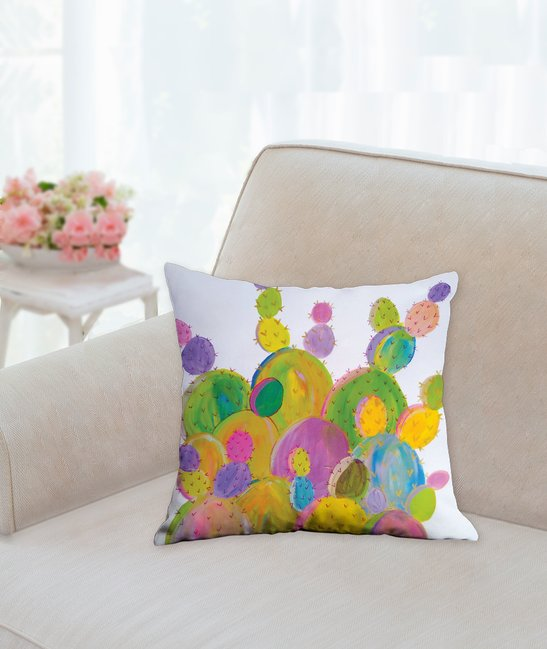 Rainbow Cactus Collectible Art Pillow