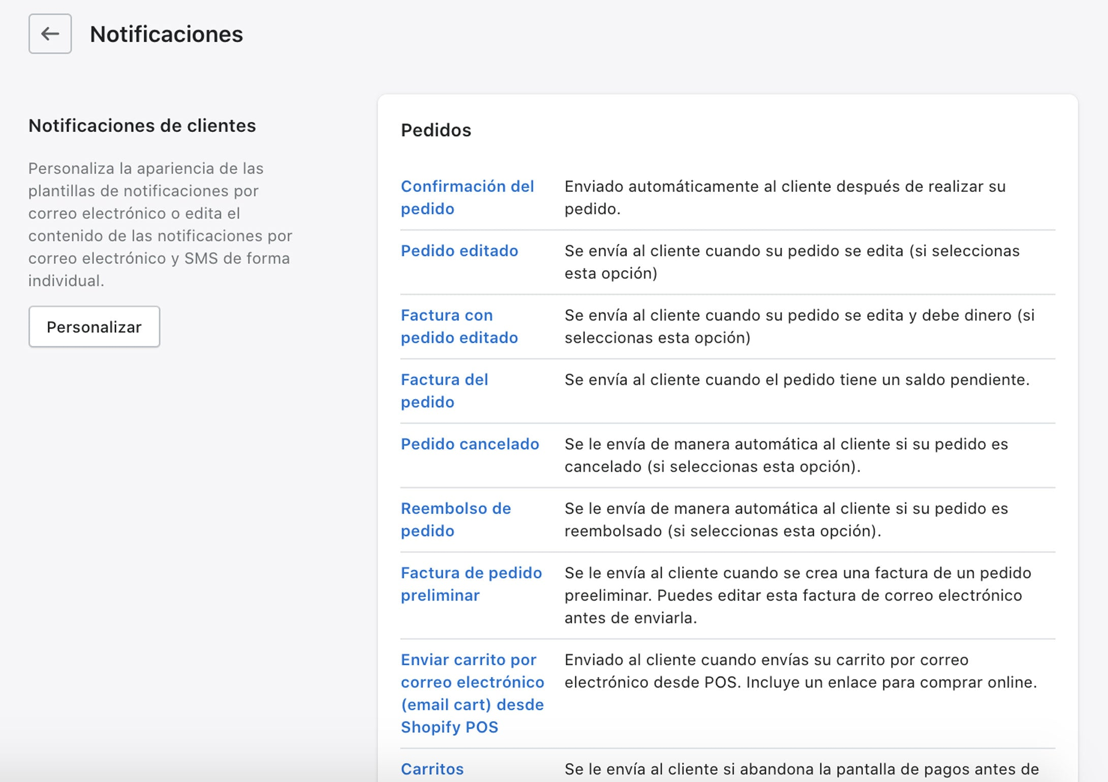 Notificaciones Shopify