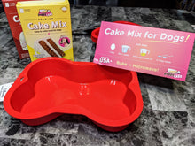 Load image into Gallery viewer, Silicone Bone shaped pan, allows you to treat your pup in a variety of ways. Easy cake mixes also available.