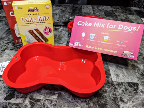 Silicone Bone shaped pan, allows you to treat your pup in a variety of ways. Easy cake mixes also available.