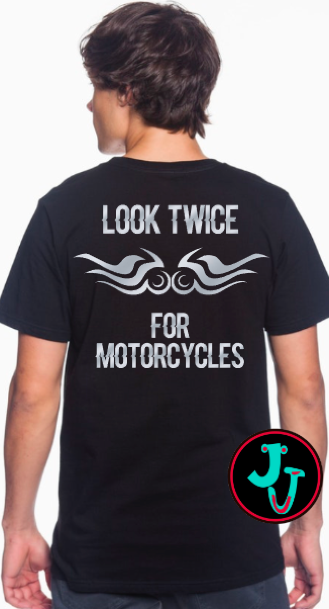 Look Twice For Motorcycles - Silver Reflective T-Shirt