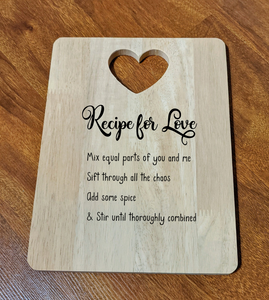 Recipe for Love Cutting Board