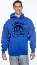"Load image into Gallery viewer, Unisex ""Camping is My Therapy"" Hooded Sweatshirt"