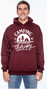 "Unisex ""Camping is My Therapy"" Hooded Sweatshirt"