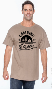 "Unisex/Mens and Womens ""Camping Is My Therapy"" Tee Shirt"