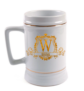 Customizable Lion Emblem Beer Stein