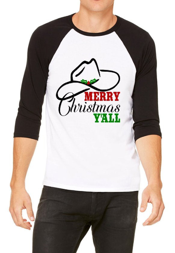 Merry Christmas Y'all Raglan T-Shirt